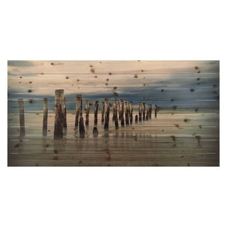 """Empire Art """"Low Tide"""" Fine Art Giclee Printed On Solid Fir Wood Planks"""