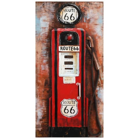 """""""Gas Pump"""" Mixed Media Iron Hand Painted Dimensional Wall Décor"""