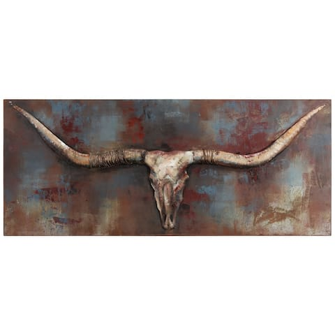"""""""Long Horn"""" Mixed Media Iron Hand Painted Dimensional Wall Décor"""