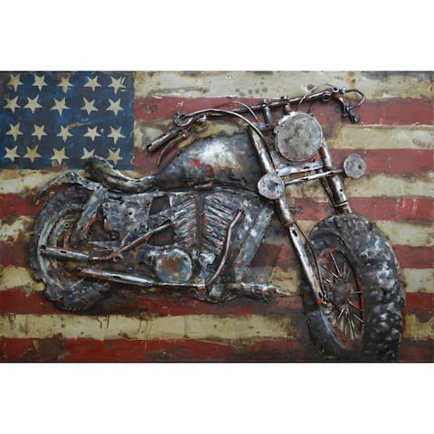 Motorcycle Wall Sculpture Mixed Media Iron Hand Painted Dimensional Wall Art