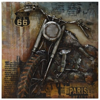 """""""Motorcycle 1"""" Mixed Media Iron Hand Painted Dimensional Wall Décor"""