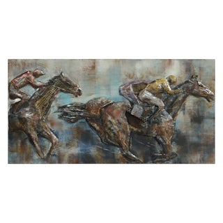 """Race Day"" Mixed Media Iron Hand Painted Dimensional Wall Décor"