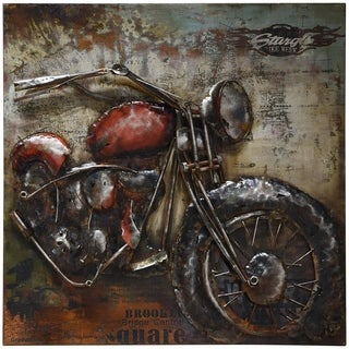 "Empire Art ""Motorcycle 2"" Primo Mixed Media Hand Painted Iron Wall Sculpture"