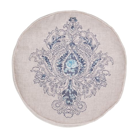 """Royal Embroidered Linen Round Throw Pillow D14"""""""