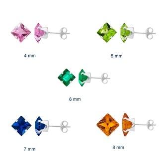 Divina Sterling Silver colored Princess Cubic Zirconia Stud Earrings