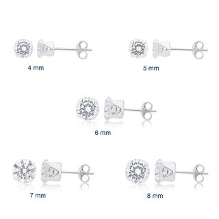 Divina Sterling Silver Cubic Zirconia Stud Earrings