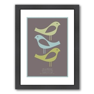 Americanflat 'Three Little Birds Brown' Framed Wall Art