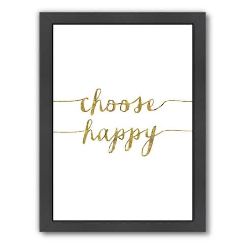 Americanflat 'Choose Happy Gold' Framed Wall Art