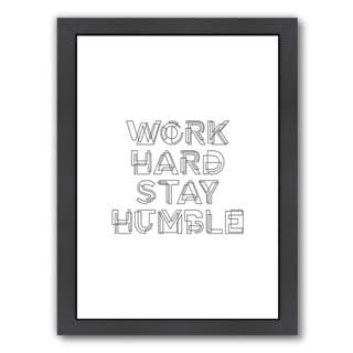 Americanflat 'Work Hard Stay Humble Geo' Framed Wall Art