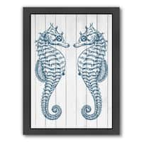 Americanflat 'Double Seahorse Wood' Framed Wall Art