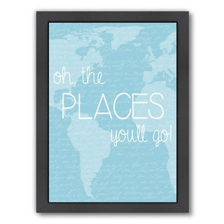 Americanflat 'Places Blue' Framed Wall Art