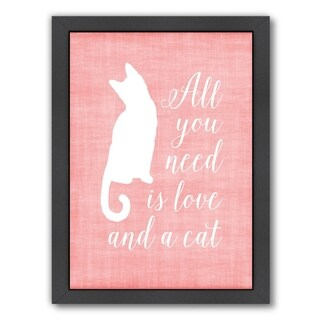 Americanflat 'Love & A Cat Linen' Framed Wall Art