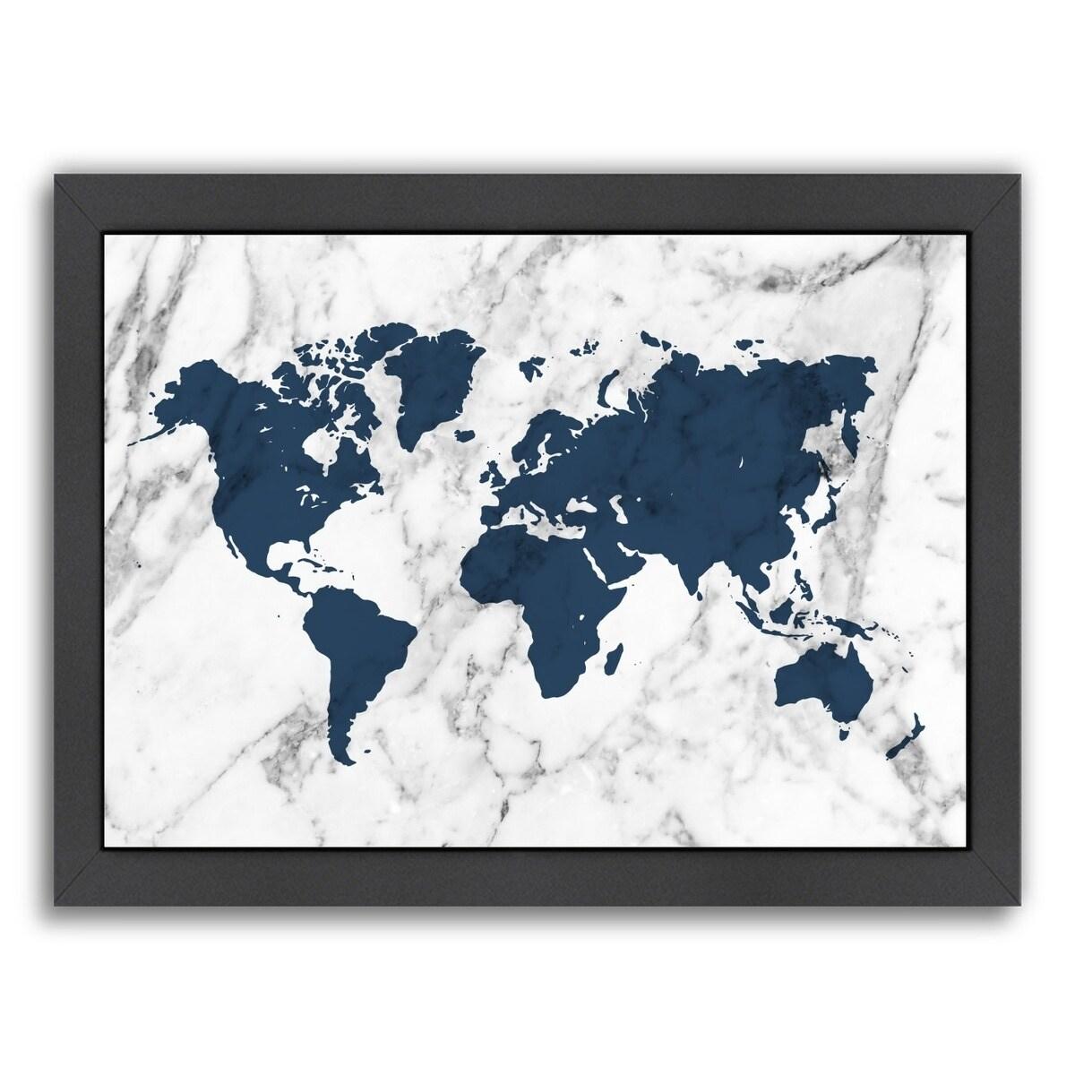Americanflat Marble World Map Navy Framed Wall Art Overstock 20579656