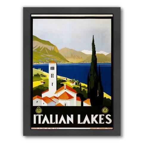 Americanflat 'Vintage Italian Lakes Travel Poster' Framed Wall Art