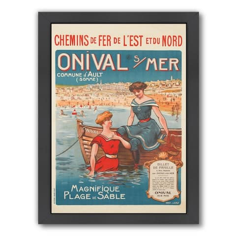 Americanflat 'Vintage French Beach Travel Poste' Framed Wall Art