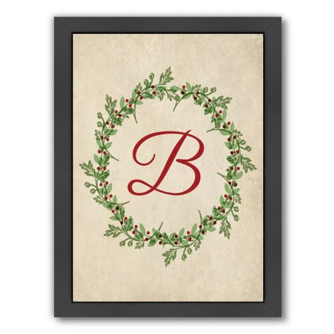 Americanflat 'Christmas Wreath B Jpg' Framed Wall Art