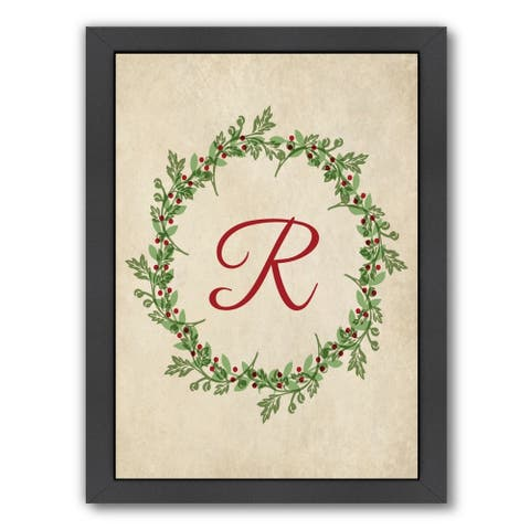 Americanflat 'Christmas Wreath R' Framed Wall Art