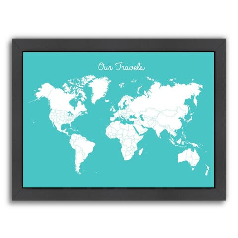 Americanflat 'Our Travels Aqua' Framed Wall Art