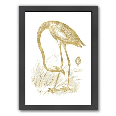 Americanflat 'Flamingo 1 Gold On White' Framed Wall Art