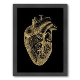 Link to Americanflat 'Heart Anatomical Gold On Black' Framed Wall Art Similar Items in Art Prints