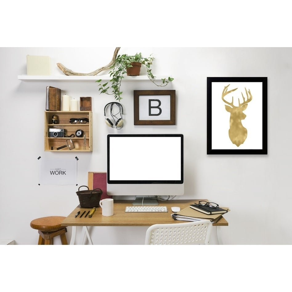 Americanflat Deer Head Right Face Gold On White Framed Wall Art Overstock 20580028