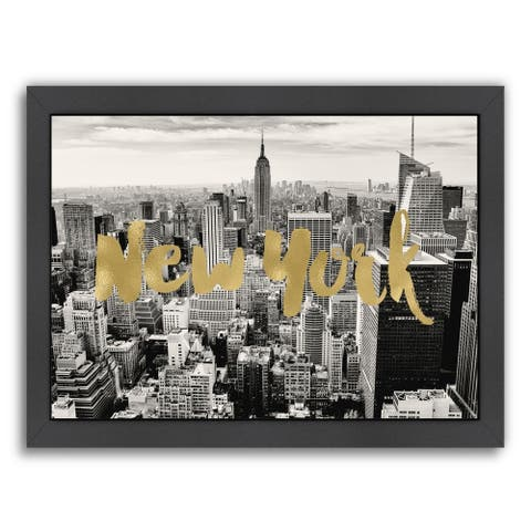 Americanflat 'New York Skyline Gold On Bwphoto' Framed Wall Art
