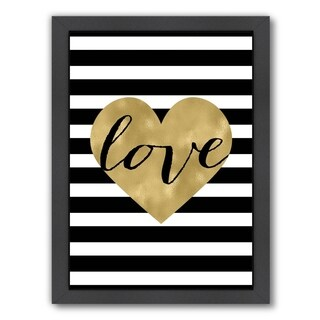 Americanflat 'Love Heart Black White Stripe' Framed Wall Art