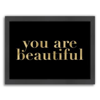 Americanflat 'You Are Beautiful Gold On Black' Framed Wall Art