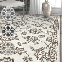 Well Woven Beige/Grey Floral Oriental Soft Area Rug (7'10 x 9'10)