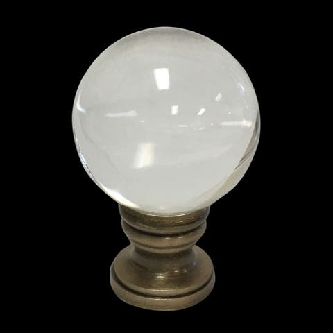 Royal Designs Clear Crystal Ball Lamp Finial with Antique Brass Base