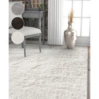 Well Woven Modern Solid Soft Grey/Silver/White Microfiber Area Rug (7'10 x 9'10)