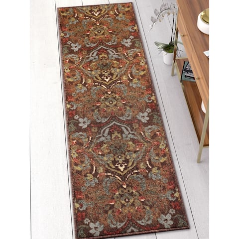 Well Woven Traditional Rustic Floral Brown Runner Rug - 2' x 7'