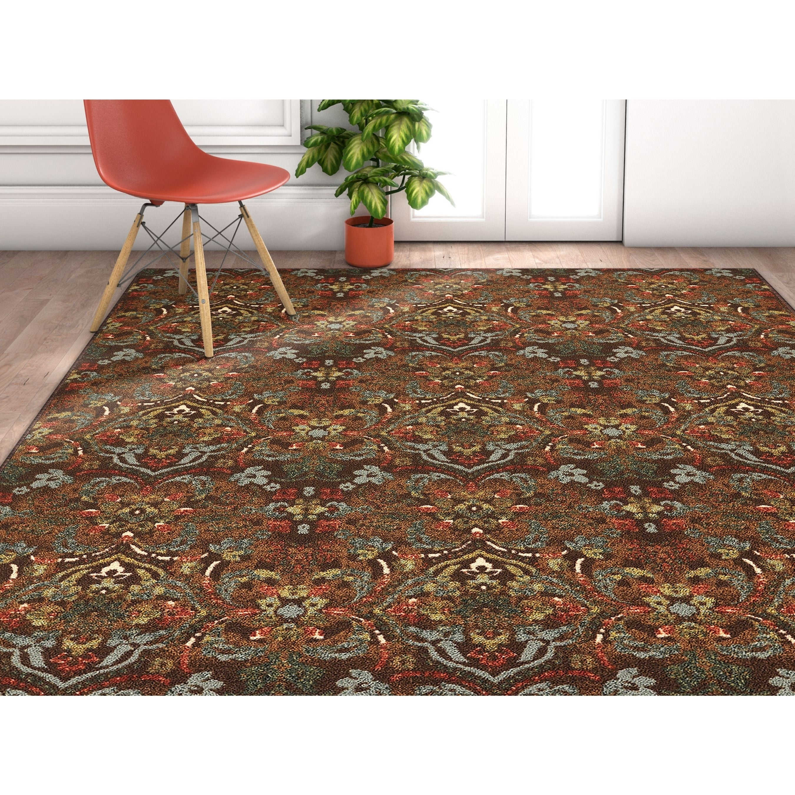 Well Woven Traditional Rustic Floral Brown Area Rug - 710 x 910 (Brown)