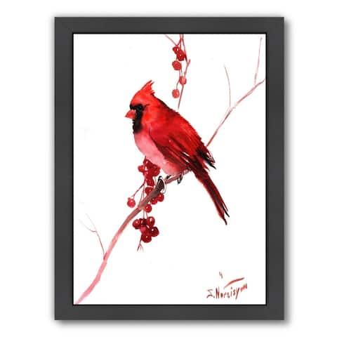Americanflat 'Red Cardinal Bird' Framed Wall Art
