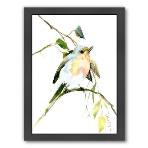 Americanflat 'Singing Bird Robin' Framed Wall Art