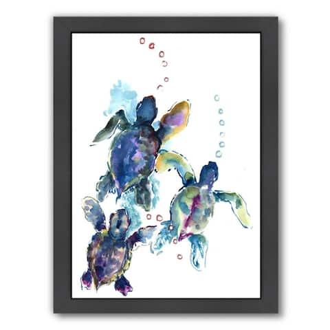 Americanflat 'Baby Sea Turtles 3' Framed Wall Art