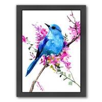 Americanflat 'Mountain Bluebird And Spring Flowers' Framed Wall Art