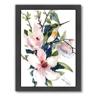 Americanflat 'Magnolia And Hummingbird 2' Framed Wall Art