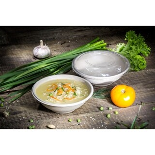 22 oz Round Bagasse Bowls and Lids with PLA Coating (500)