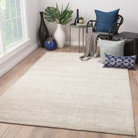 Phase Handmade Solid Ivory/ Light Gray Area Rug (5' X 8')