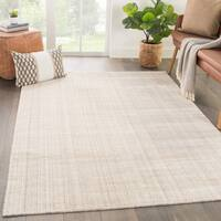 Phase Handmade Solid Ivory/ Beige Area Rug (5' X 8')