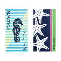 Nautica Seahorse Stripe/Three Star Beach Towel (Set of 2)