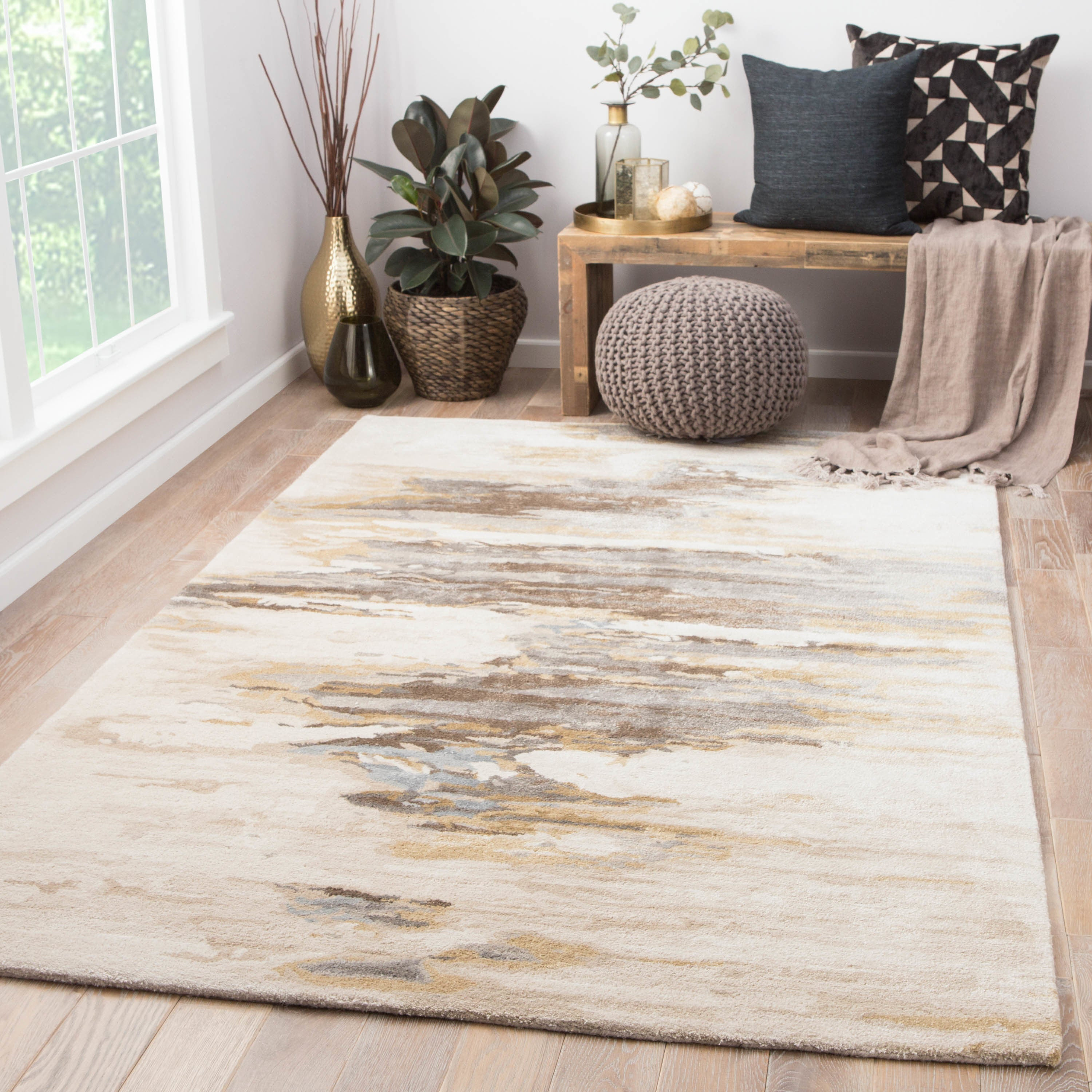 Abstract Cream Gold Area Rug