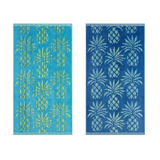 Tommy Bahama Pineapple Striple Beach Towel (Set of 2)