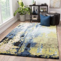 Prose Handmade Abstract Blue/ Green Area Rug (5' X 8')