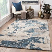 Stowe Handmade Abstract Gray/ Blue Area Rug (5' X 8')