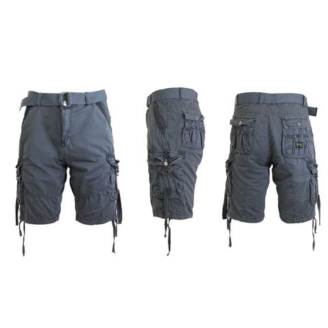 Galaxy by Harvic Men's Vintage Cotton Cargo Shorts with Belt