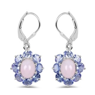 Lucia Costin Opal Flower Earrings .925 Sterling Silver