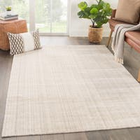 Phase Handmade Solid Ivory/ Beige Area Rug (8' X 10')