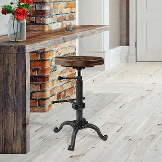 Davi Industrial Barstool in Silver Brushed Gray with Rustic Pine - N/A
